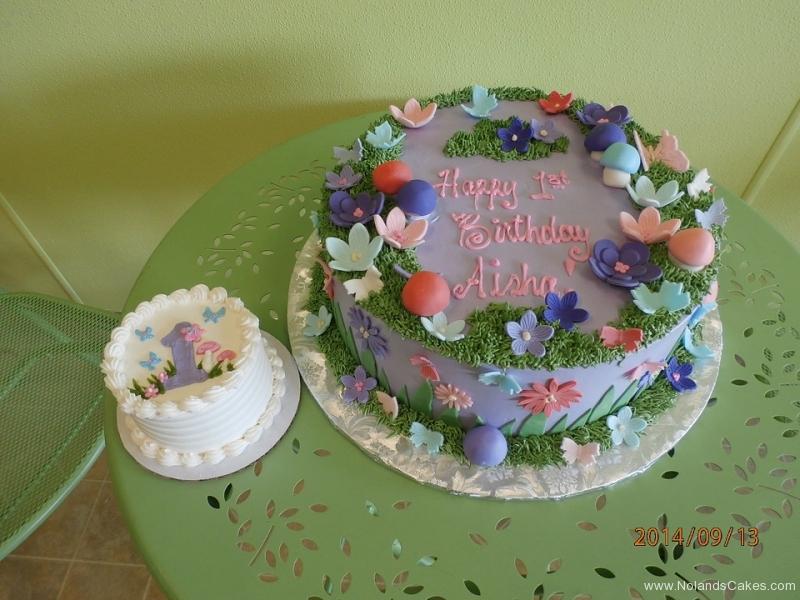 1644, first birthday, 1st birthday, flower, flowers, grass, mushrooms, forest, butterfly, butterflies, purple, pink, smash cake