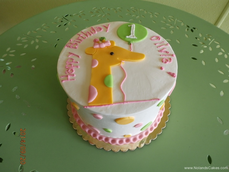 1655, first birthday, 1st birthday, giraffe, balloon, balloons, dot, dots, pink, yellow, pastel, green