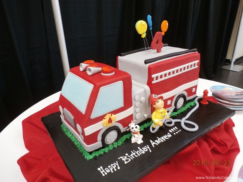 1589, 4th birthday, fourth birthday, fire truck, fire engine, dalmatian, red, yellow, black, carved