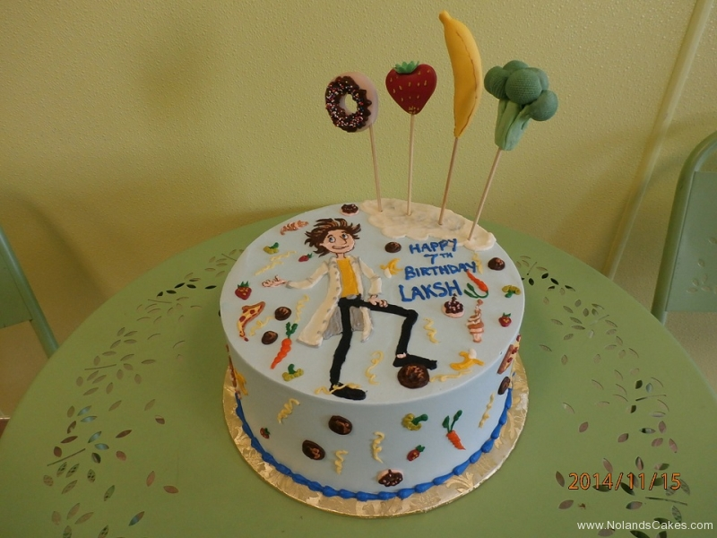 1702, 7th birthday, seventh birthday, cloudy with a chance of meatballs, food, donut, strawberry, banana, broccoli, fruit, vegetable, blue, flint
