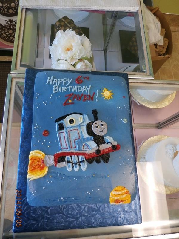 1602, 6th birthday, sixth birthday, thomas the tank engine, thomas, space, rocket, star, stars, blue, train