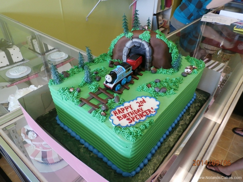 1607, 2nd birthday, second birthday, thomas the tank engine, tunnel, grass, train, green