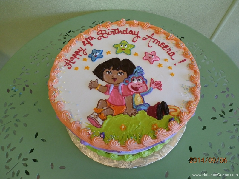 1624, fourth birthday, 4th birthday, dora the explorer, star, stars, white, orange, coral, green