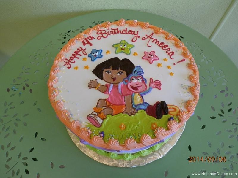 1624, fourth birthday, 4th birthday, dora the explorer, star, stars, white, orange, coral, green