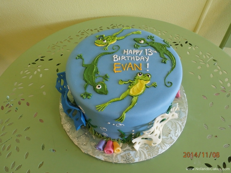 1705, 13th birthday, thirteenth birthday, frog, lizard, reptile, blue, green, water, bubbles, pond
