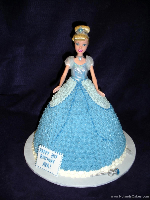 1724, 3rd birthday, third birthday, cinderella, princess, disney, blue, dress, barbie cake, carved