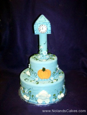 1718, birthday, cinderella, clock, tower, pumpkin, disney princess, carriage, blue, tiered