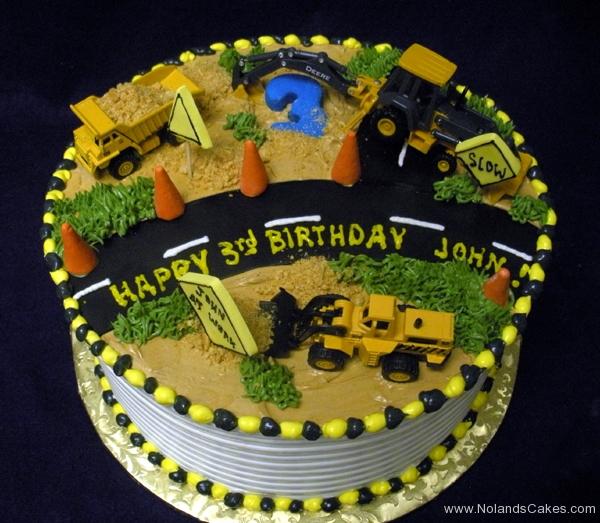 1744, third birthday, 3rd birthday, construction, tonka, machines, dump truck, digger, road, street, cones, yellow, black, green