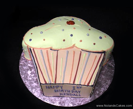 1766, first birthday, 1st birthday, cupcake, carved, pink, white, purple