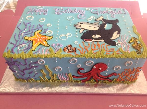 1801, birthday, underwater, water, ocean, sea, orca, starfish, octopus, dolphin, clownfish, seahorse, coral, kelp, blue green, yellow