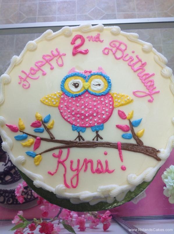 1804, 2nd birthday, second birthday, owl, branch, tree, pink, blue, yellow, white