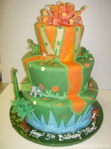1811, fifth birthday, 5th birthday, dino, dinosaur, green, orange,  forest, jungle, tiered