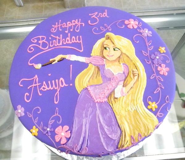 1834, third birthday, 3rd birthday, tangled, rapunzel, flower, flowers, purple, pink