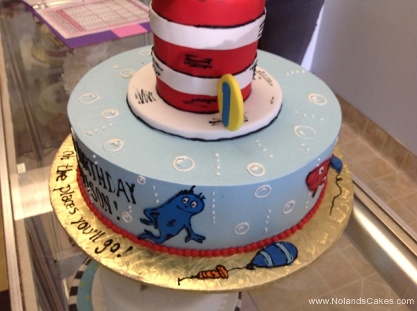 1853, first birthday, 1st birthday, dr seuss, seuss, cat in the hat, horton hears a who, one fish two fish, bubble, bubbles, blue, white, red, tiered