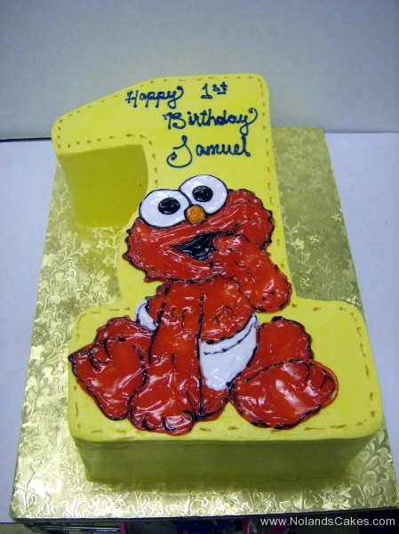1879, first birthday, 1st birthday, elmo, sesame street, yelow, red, white, carved