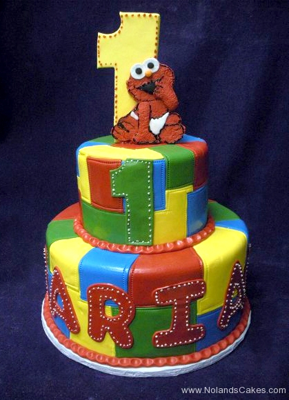 1885, first birthday, 1st birthday, elmo, sesame street, primary, bright, yellow, blue, green, red, tiered