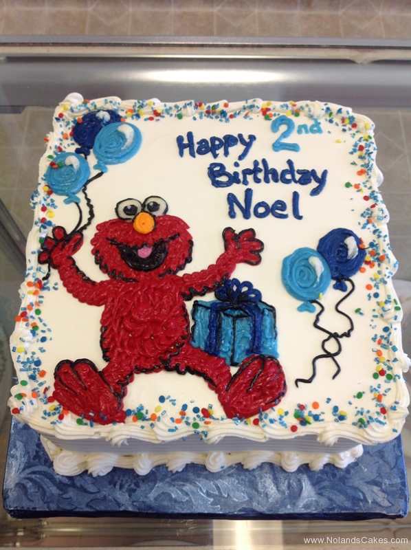 1877, second birthday, 2nd birthday, elmo, balloon, balloons, gift, present, sesame street, blue, red, white
