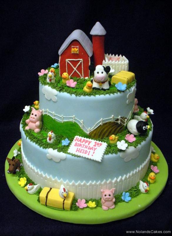 1901, first birthday, 1st birthday, barn, barnyard, farm, farmyard, cow, pig, sheep, duck, horse, donkey, grass, sky, fence, blue, green, red