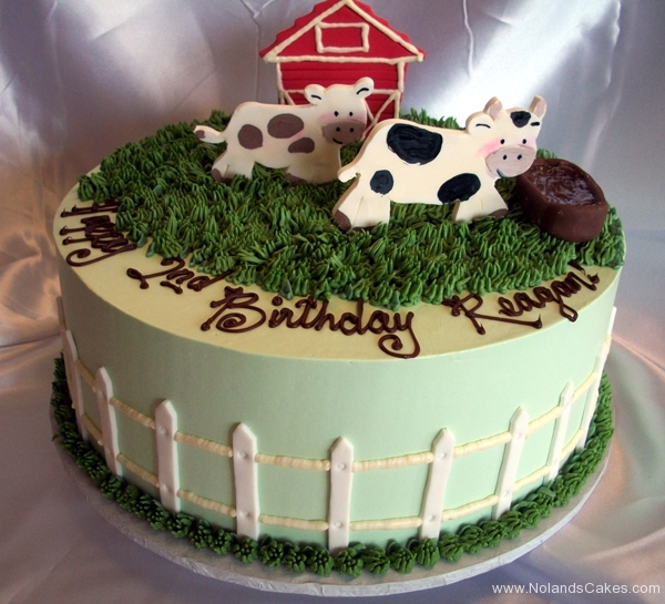 1899, second birthday, 2nd birthday, cow, farm, pasture, barn, barnyard, grass, green, blue