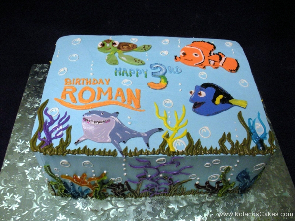 1909, third birthday, 3rd birthday, finding nemo, bruce, dory, nemo, marlin, crush, squirt, water, underwater, ocean, sea, shark, fish, blue