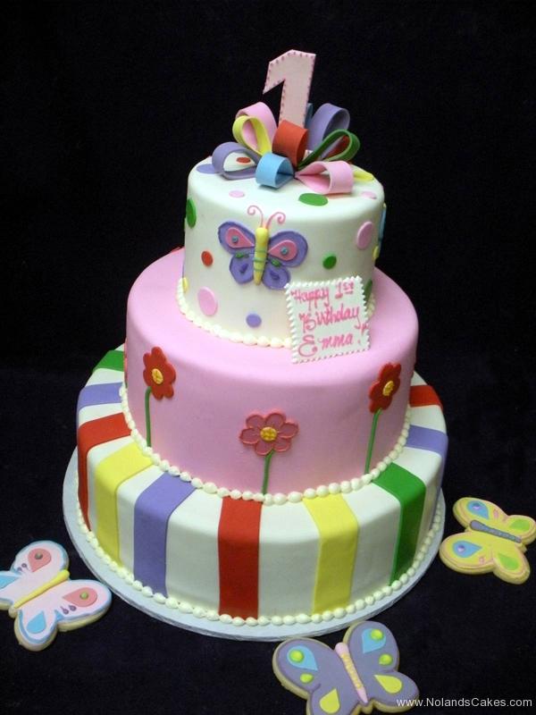 1921, first birthday, 1st birthday, butterfly, butterflies, flower, flowers, stripe, stripes, pastel, tiered, cookies