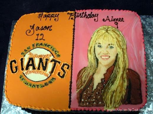 1934, 12th birthday, twelth birthday, 9th birthday, ninth birthday, san francisco giants, baseball, orange, black, baseball, miley cyrus, pink, split