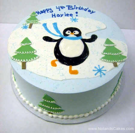 1953, 4th birthday, fourth birthday, penguin, tree, trees, ice, snowflake, snowflakes, blue, green, white