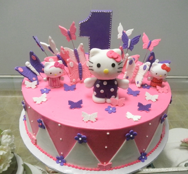 1956, first birthday, 1st birthday,hello kitty, butterfly, butterflies, pink, purple, white