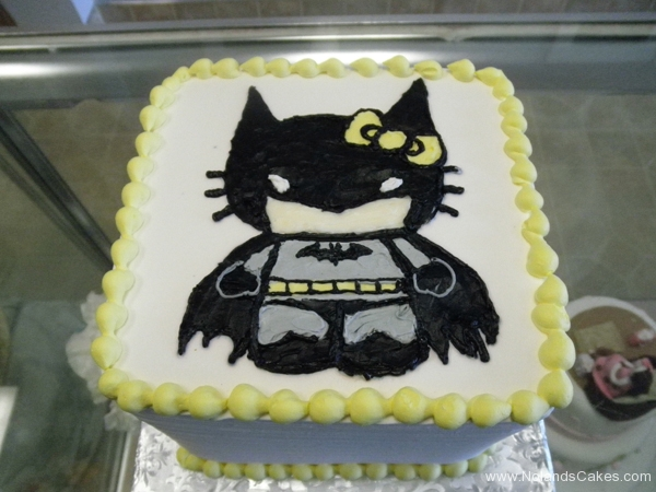 1958, birthday, hello kitty, batman, bow, black, white, yellow