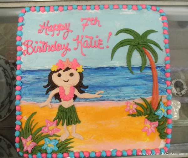 1965, 7th birthday, seventh birthday, hula, hawaii, beach, ocean, sea, tree, palm tree, flower, flowers, pink, blue