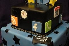 159, birthday, 13th birthday, thirteenth birthday, social media, apps, facebook, phone, clock, calendar, google, stars, star, tiered, blue, black, yellow