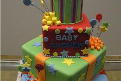 136, 1st birthday, first birthday, birthday, tiered, red, green, blue, yellow, orange, star, stars, balloons, tiger