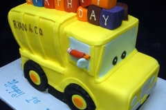 145, 1st birthday, first birthday, birthday, yellow, truck, blocks, carved, carved cake