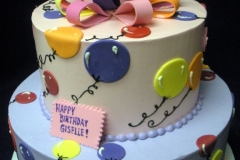 190, balloons, bow, birthday, pink, blue, green, purple, tiered,