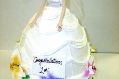 215, bride, bridal, bridal shower, dress, cake, barbie, barbie cake, flowers