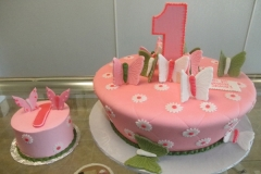 219, first birthday, 1st birthday, butterflies, butterfly, pink, smash cake, green,