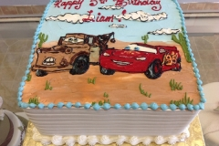 231, birthday, 5th birthday, fifth birthday, cars, movie, desert, red, brown, blue, white, lightning mcqueen,  mater