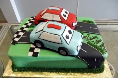 229, 1st birthday, first birthday, cars, movie, car, green, grass, red, blue, road, carved