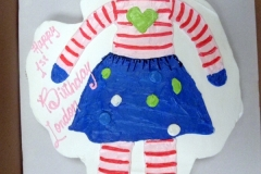 235, first birthday, 1st birthday, doll, drawing, cartoon, stripes, skirt, blue, dots