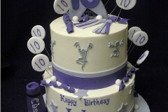 265, tenth birthday, 10th birthday, cheer, cheerleader, cheerleading, white, purple, gray, grey, silver, star, stars, tiered