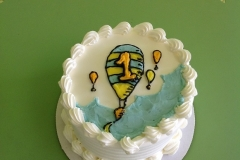 360, 1st birthday, first birthday, smash cake, balloon, hot air balloon, blue, white, yellow