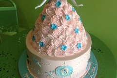 368, birthday, 1st birthday, first birthday, barbie cake, barbie, cinderella, disney, princess, pink, blue, flower, flowers, carved