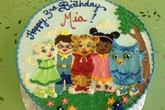 392, 3rd birthday, third birthday, daniel tiger, cartoon, tiger, cat, owl, blue, green, tree