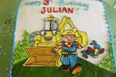 411, 3rd birthday, third birthday, bob the builder, construction, backhoe, tonka, blue, white, green
