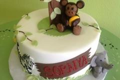 415, 1st birthday, first birthday, monkey, elephant, zebra, zoo, white, green