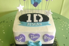 287, 14th birthday, fourteenth birthday, one direction, white, blue, black, purple, star, stars, bow, bows, heart, hearts
