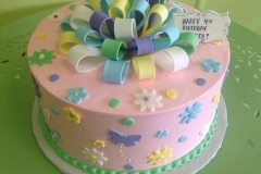 293, 4th birthday, fourth birthday, pink, yellow, blue, green, purple, white, bow, bows, butterfly, butterflies, flower, flowers