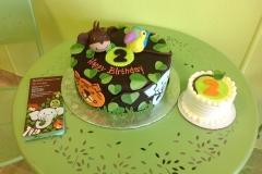 576, second birthday, 2nd birthday, jungle, animals, tiger, monkey, tucan, bird, elephant, leaf, leaves, brown, green, smash cake