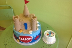 439, first birthday, 1st birthday, castle, sand castle, beach, ocean, sea, blue, red, smash cake