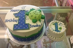 484, first birthday, 1st birthday, birthday, green, turtle, dots, blue, white, smash cake